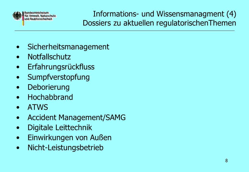 3.Aus- und Bewertung regulatorischer Forschungsprogramme ausländischer Sicherheitsbehörden und der EU Systematische Sichtung dokumentierter Ergebnisse französischer, ameri- kanischer, schwedischer und schweizer regulatorischer Forschungspro- gramme im Hinblick auf ihre Relevanz für Deutschland –Von Interesse sind Informationsangebote von IRSN, NRC, SKI und der HSK –Sukzessive, zusammenfassende Darstellung der Ergebnisse relevanter Vorhaben und Einstellung der entsprechenden Dokumente in das Projektportal –Iterative, vertiefte Auswertung ausgewählter Vorhaben, ob ein geänderter Stand von Wissenschaft und Technik vorliegt und prüfen der Erkenntnisse auf Übertragbarkeit auf deutsche Verhältnisse.