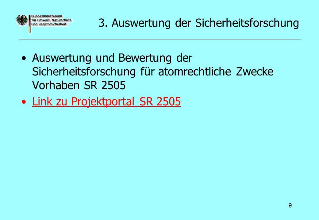 9 3. Auswertung der Sicherheitsforschung Auswertung und Bewertung der Sicherheitsforschung für atomrechtliche Zwecke Vorhaben SR 2505 Link zu Projektp