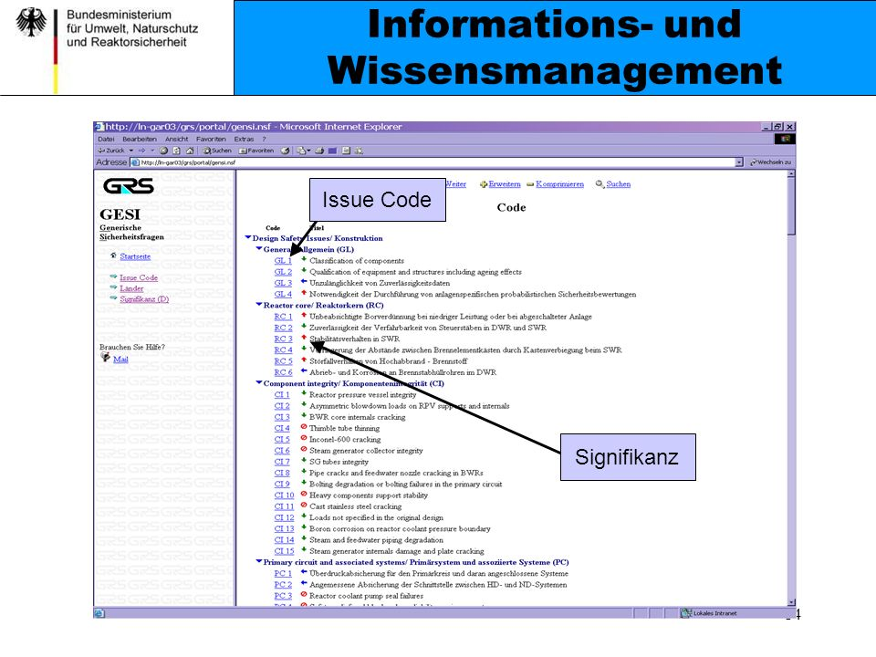14 Informations- und Wissensmanagement Issue Code Signifikanz