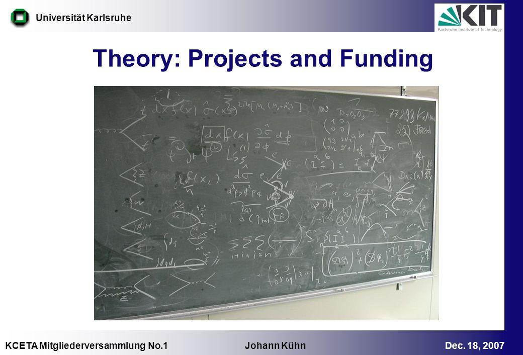 KCETA Mitgliederversammlung No.1 Johann Kühn Dec. 18, 2007 Universität Karlsruhe Theory: Projects and Funding