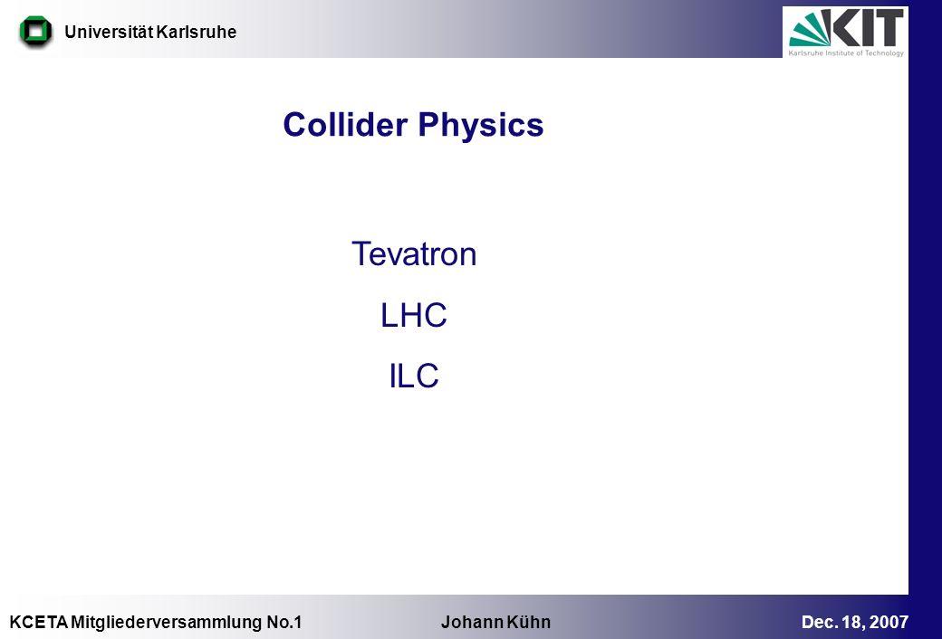 KCETA Mitgliederversammlung No.1 Johann Kühn Dec. 18, 2007 Universität Karlsruhe Collider Physics Tevatron LHC ILC