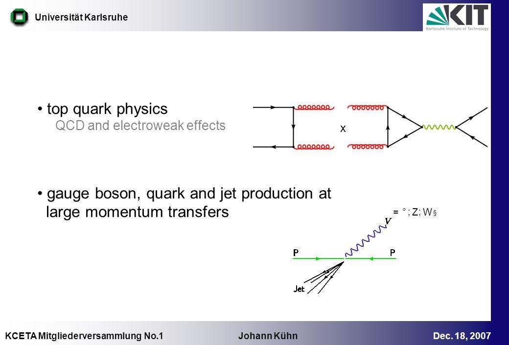 KCETA Mitgliederversammlung No.1 Johann Kühn Dec. 18, 2007 Universität Karlsruhe top quark physics QCD and electroweak effects gauge boson, quark and