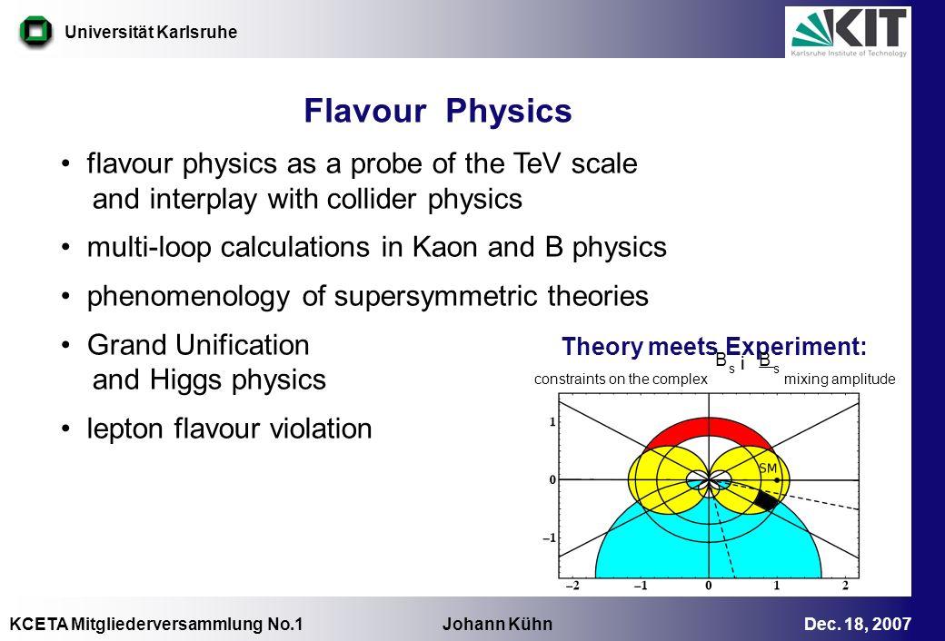 KCETA Mitgliederversammlung No.1 Johann Kühn Dec. 18, 2007 Universität Karlsruhe constraints on the complex mixing amplitude Flavour Physics flavour p