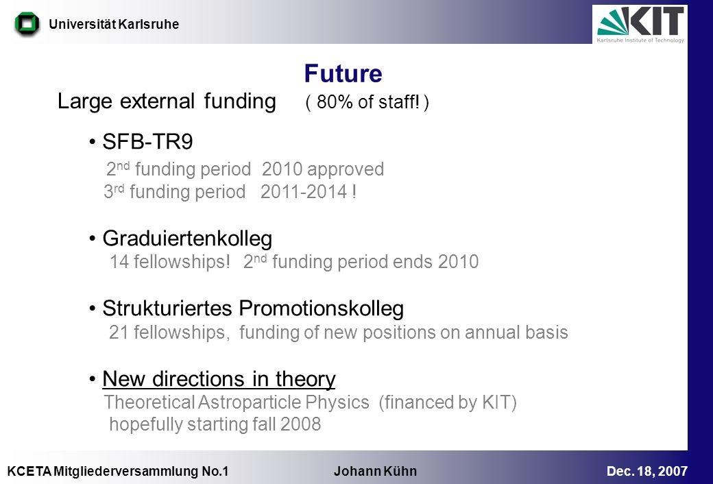 KCETA Mitgliederversammlung No.1 Johann Kühn Dec. 18, 2007 Universität Karlsruhe Future Large external funding ( 80% of staff! ) SFB-TR9 2 nd funding