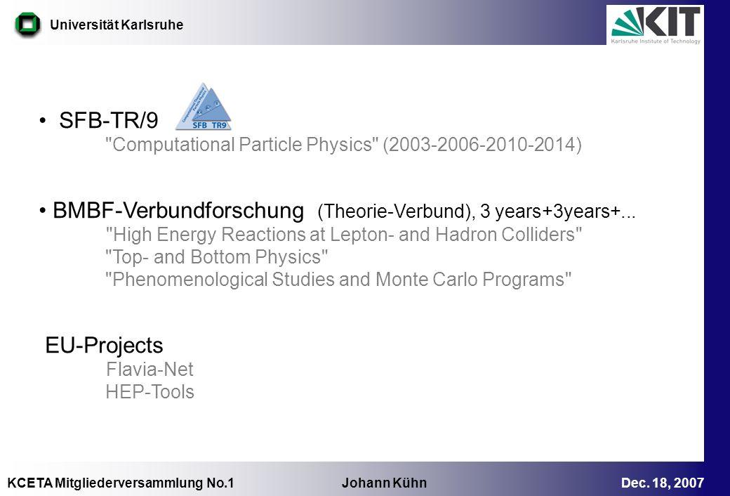 KCETA Mitgliederversammlung No.1 Johann Kühn Dec. 18, 2007 Universität Karlsruhe SFB-TR/9