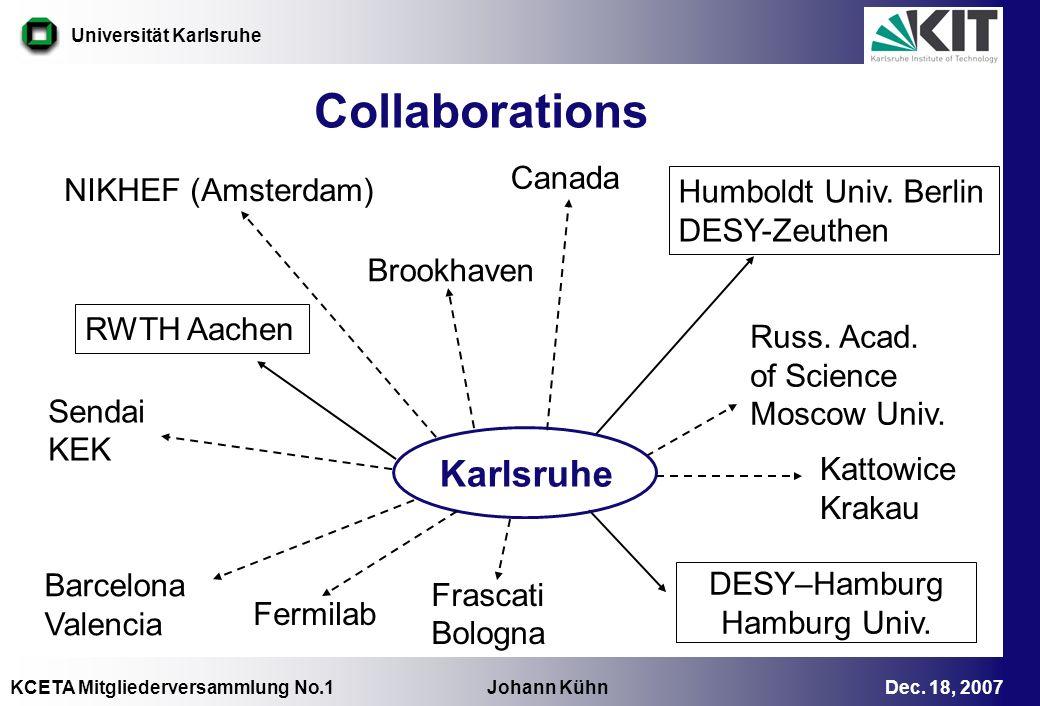 KCETA Mitgliederversammlung No.1 Johann Kühn Dec. 18, 2007 Universität Karlsruhe Collaborations RWTH Aachen Humboldt Univ. Berlin DESY-Zeuthen DESY–Ha