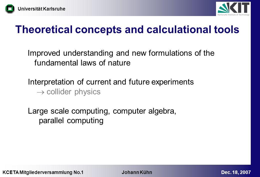 KCETA Mitgliederversammlung No.1 Johann Kühn Dec. 18, 2007 Universität Karlsruhe Improved understanding and new formulations of the fundamental laws o