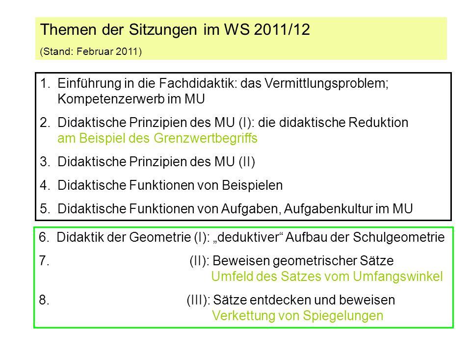 Themen der Sitzungen im WS 2011/12 (Stand: Februar 2011) 1.Einführung in die Fachdidaktik: das Vermittlungsproblem; Kompetenzerwerb im MU 2.Didaktische Prinzipien des MU (I): die didaktische Reduktion am Beispiel des Grenzwertbegriffs 3.Didaktische Prinzipien des MU (II) 4.Didaktische Funktionen von Beispielen 5.Didaktische Funktionen von Aufgaben, Aufgabenkultur im MU 6.Didaktik der Geometrie (I): deduktiver Aufbau der Schulgeometrie 7.