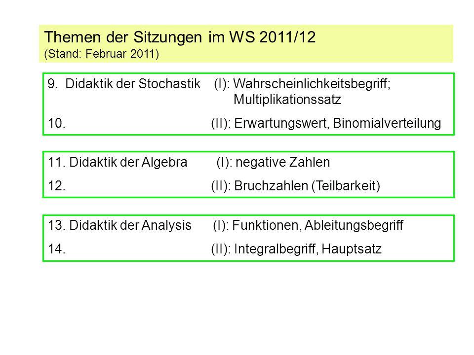 Themen der Sitzungen im SS 2012 (Stand: Februar 2011) 15.