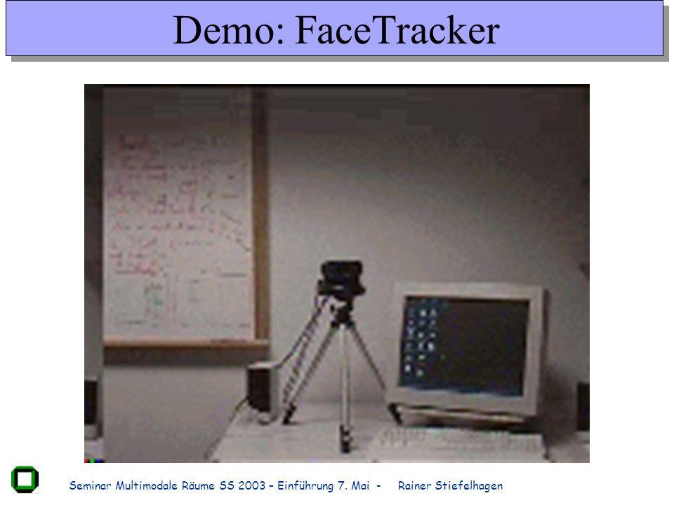Seminar Multimodale Räume SS 2003 – Einführung 7. Mai - Rainer Stiefelhagen Demo: FaceTracker