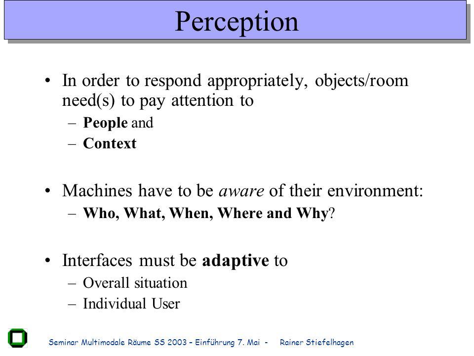 Seminar Multimodale Räume SS 2003 – Einführung 7.