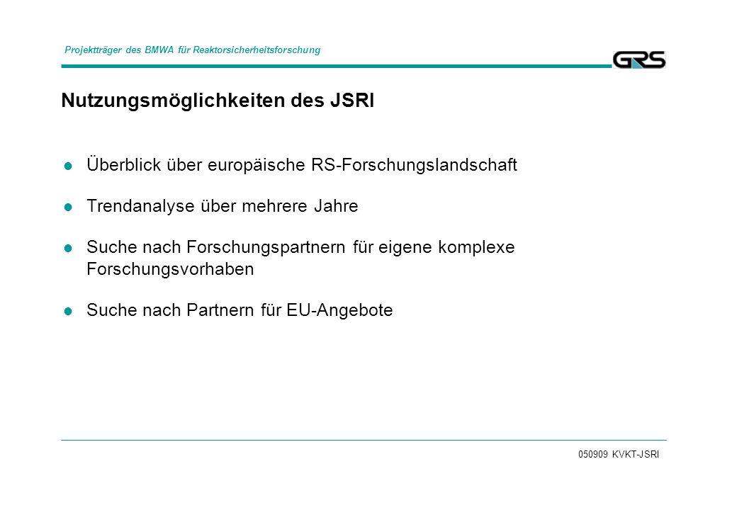 050909 KVKT-JSRI Nutzungsmöglichkeiten des JSRI Überblick über europäische RS-Forschungslandschaft Trendanalyse über mehrere Jahre Suche nach Forschungspartnern für eigene komplexe Forschungsvorhaben Suche nach Partnern für EU-Angebote Projektträger des BMWA für Reaktorsicherheitsforschung