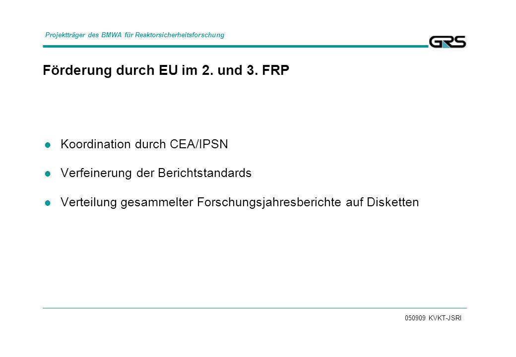 050909 KVKT-JSRI Förderung durch EU im 2. und 3. FRP Koordination durch CEA/IPSN Verfeinerung der Berichtstandards Verteilung gesammelter Forschungsja