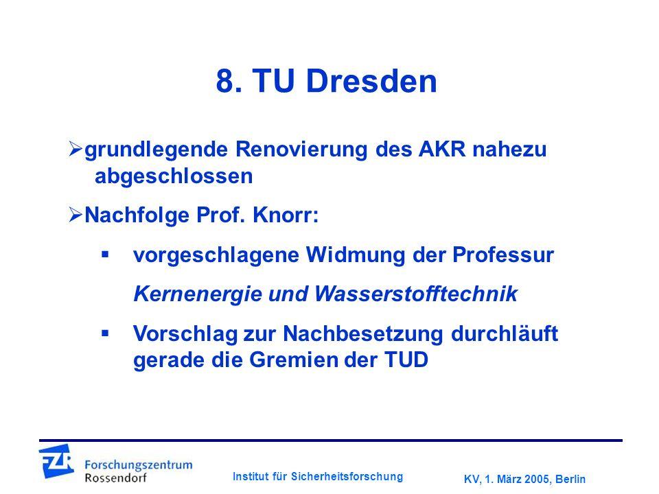 KV, 1. März 2005, Berlin Institut für Sicherheitsforschung 8.