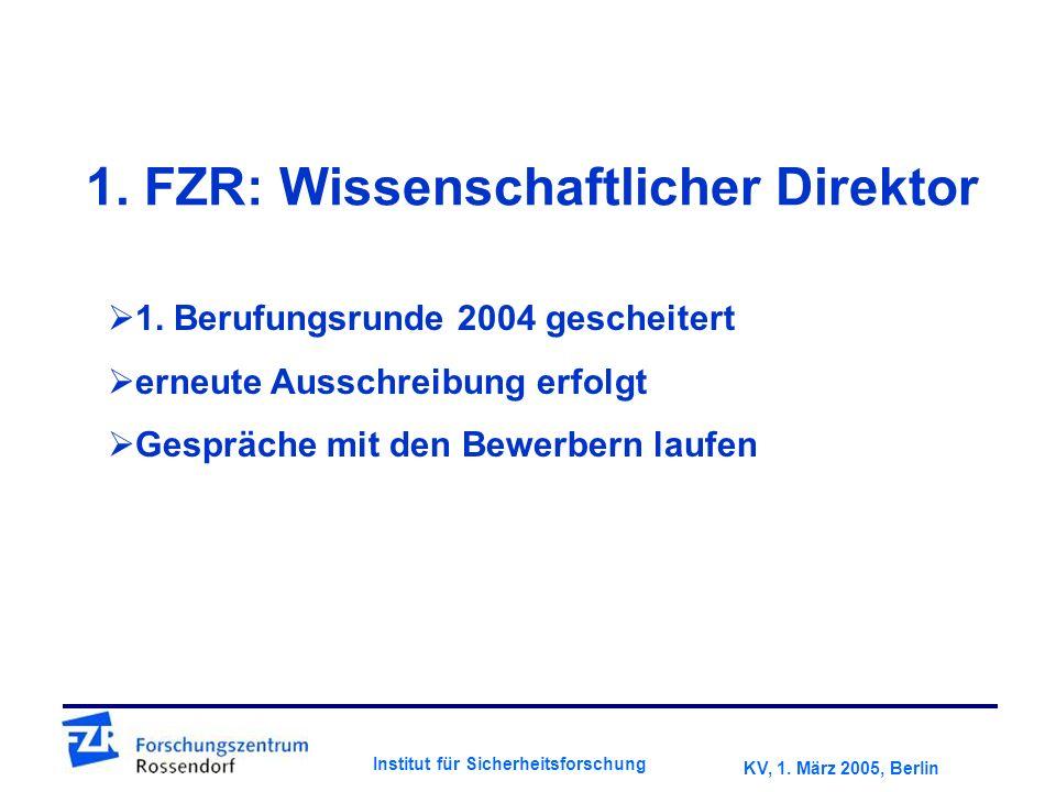 KV, 1. März 2005, Berlin Institut für Sicherheitsforschung 1.