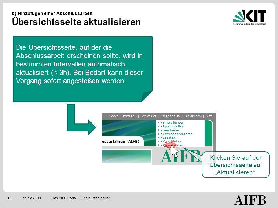 1311.12.2009 b) Hinzufügen einer Abschlussarbeit Übersichtsseite aktualisieren Das AIFB-Portal – Eine Kurzanleitung Klicken Sie auf der Übersichtsseite auf Aktualisieren.