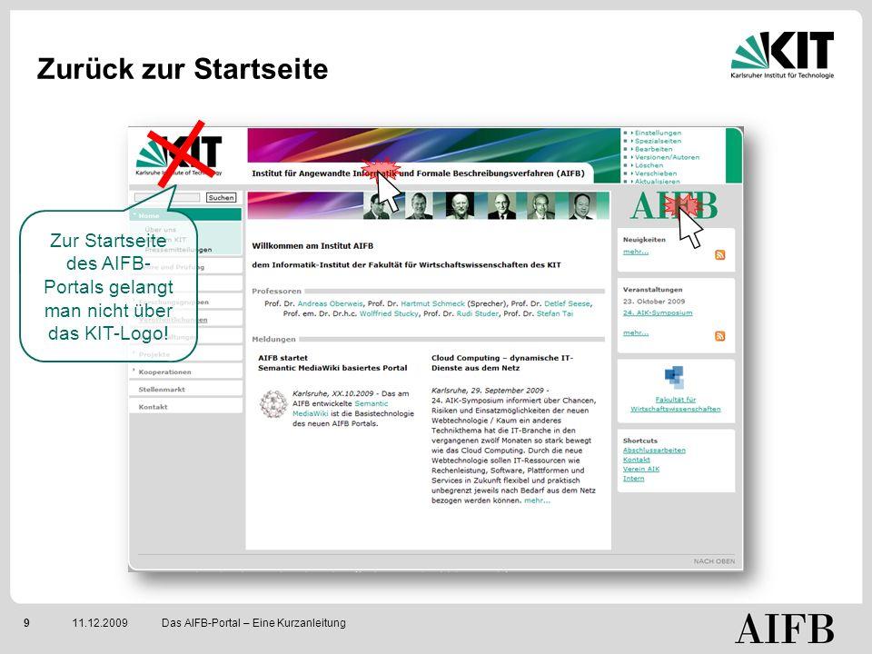 911.12.2009 Zurück zur Startseite Das AIFB-Portal – Eine Kurzanleitung Zur Startseite des AIFB- Portals gelangt man nicht über das KIT-Logo!