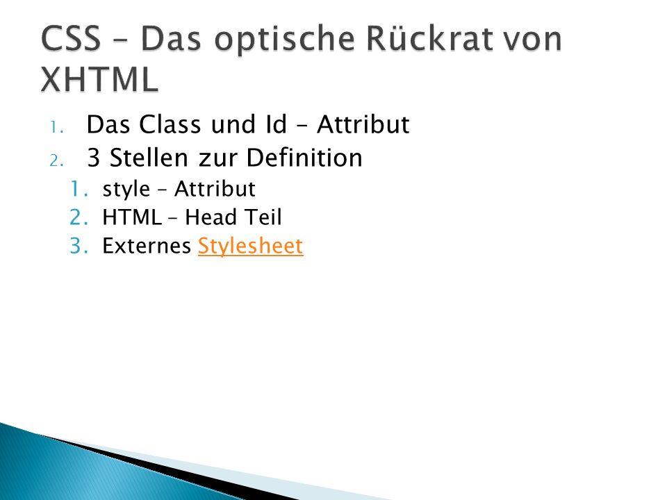 1. Das Class und Id – Attribut 2.