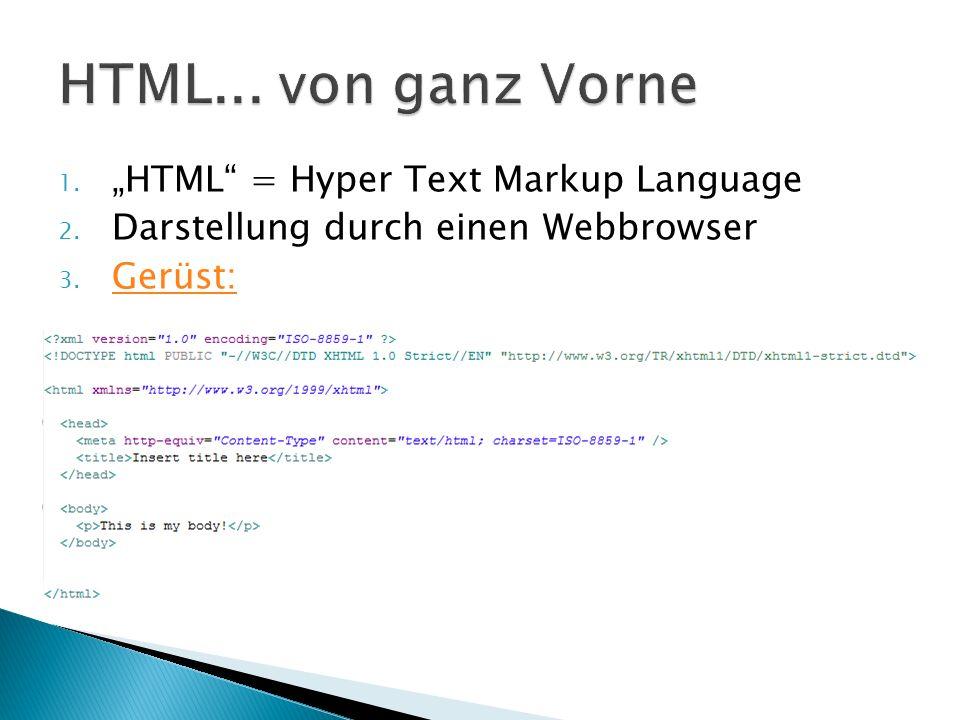 1. HTML = Hyper Text Markup Language 2. Darstellung durch einen Webbrowser 3. Gerüst: Gerüst: