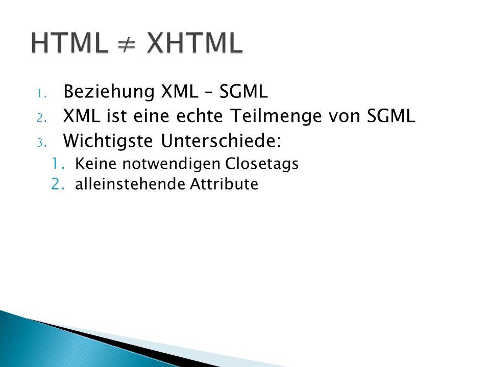 1. Beziehung XML – SGML 2. XML ist eine echte Teilmenge von SGML 3.