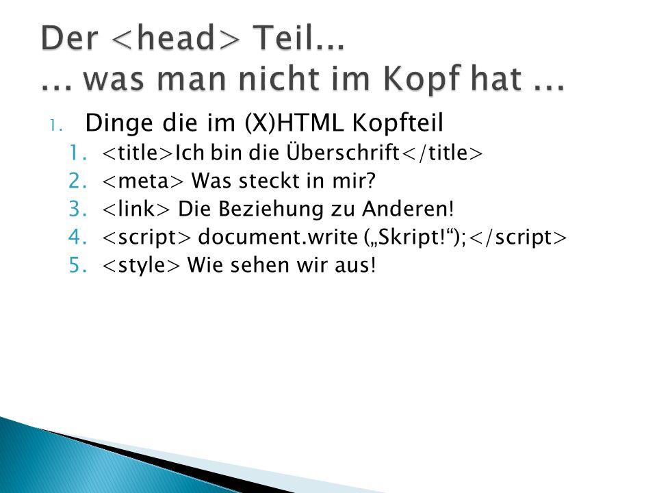 1. Dinge die im (X)HTML Kopfteil 1. Ich bin die Überschrift 2.