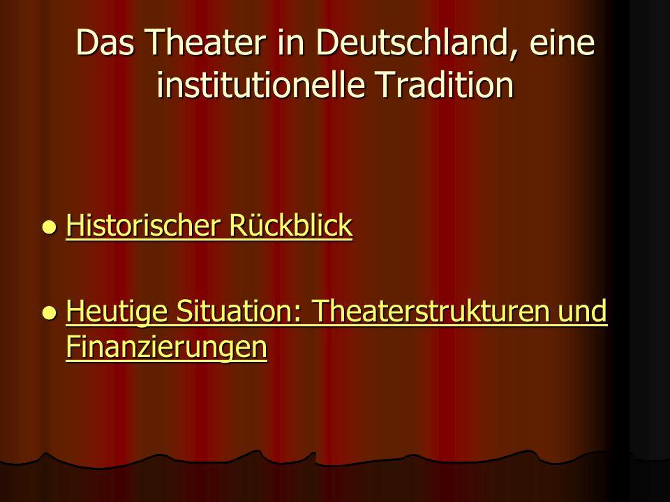 Das Theater in Deutschland, eine institutionelle Tradition Historischer Rückblick Historischer Rückblick Historischer Rückblick Historischer Rückblick