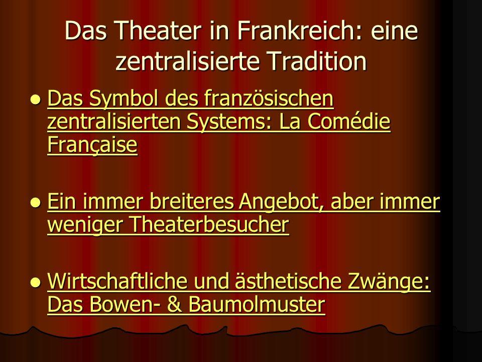 Das Theater in Frankreich: eine zentralisierte Tradition Das Symbol des französischen zentralisierten Systems: La Comédie Française Das Symbol des fra