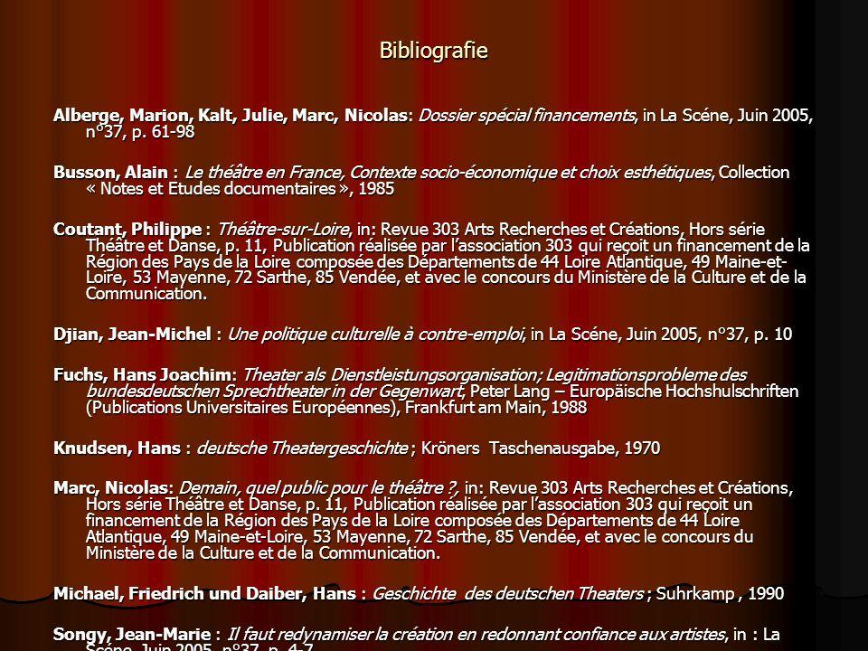 Bibliografie Alberge, Marion, Kalt, Julie, Marc, Nicolas: Dossier spécial financements, in La Scéne, Juin 2005, n°37, p. 61-98 Busson, Alain : Le théâ