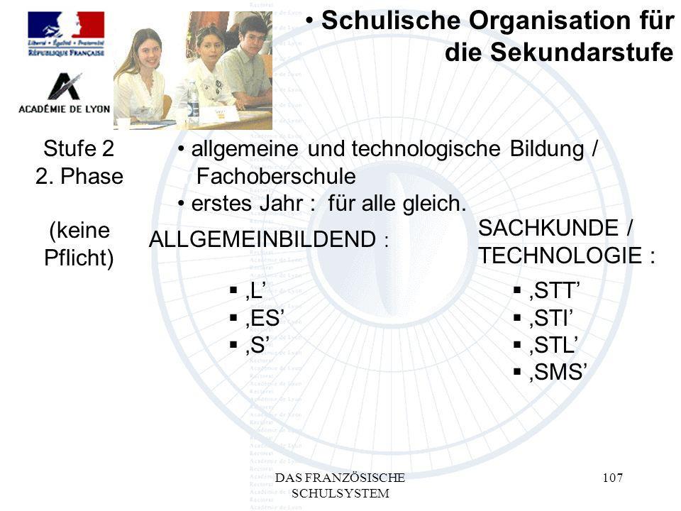 DAS FRANZÖSISCHE SCHULSYSTEM 107 L ES S ALLGEMEINBILDEND : SACHKUNDE / TECHNOLOGIE : Schulische Organisation für die Sekundarstufe Stufe 2 2.