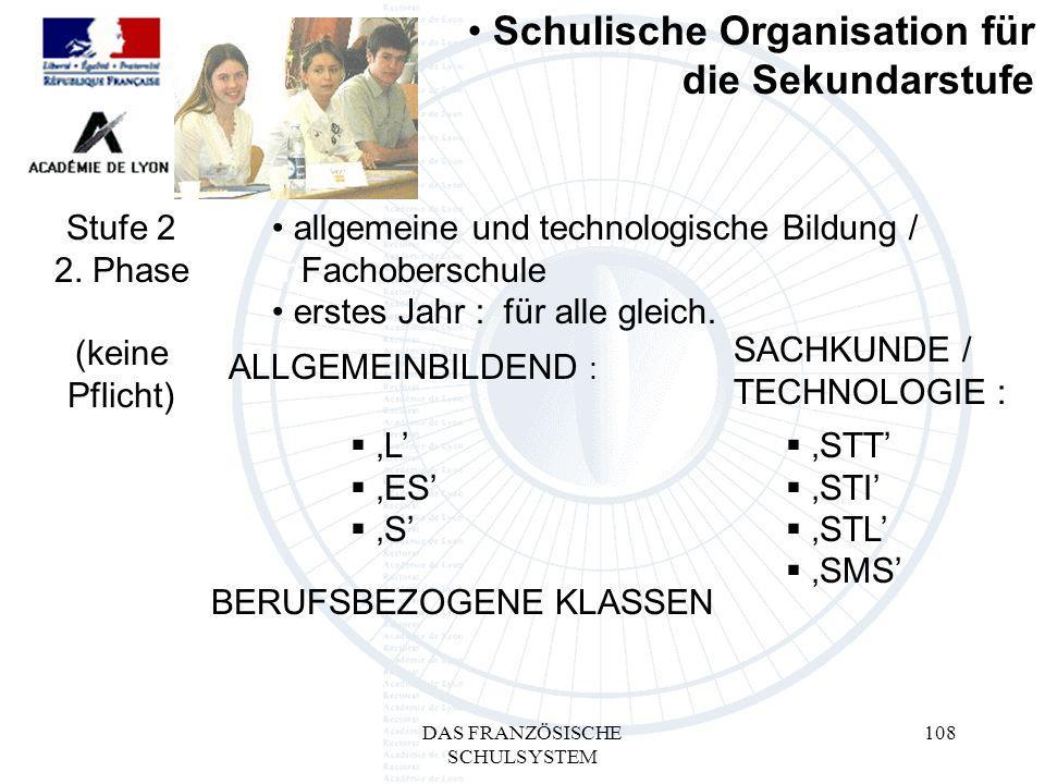 DAS FRANZÖSISCHE SCHULSYSTEM 108 L ES S ALLGEMEINBILDEND : SACHKUNDE / TECHNOLOGIE : BERUFSBEZOGENE KLASSEN Schulische Organisation für die Sekundarstufe Stufe 2 2.