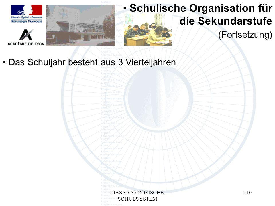 DAS FRANZÖSISCHE SCHULSYSTEM 110 Das Schuljahr besteht aus 3 Vierteljahren Schulische Organisation für die Sekundarstufe (Fortsetzung)