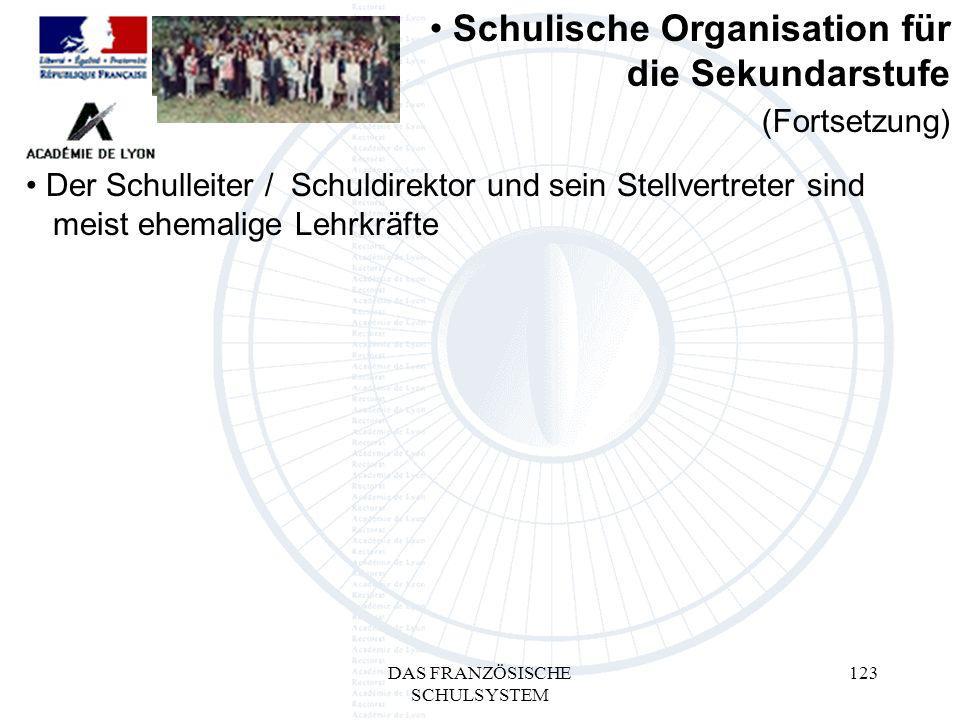 DAS FRANZÖSISCHE SCHULSYSTEM 123 Der Schulleiter / Schuldirektor und sein Stellvertreter sind mmeist ehemalige Lehrkräfte Schulische Organisation für die Sekundarstufe (Fortsetzung)