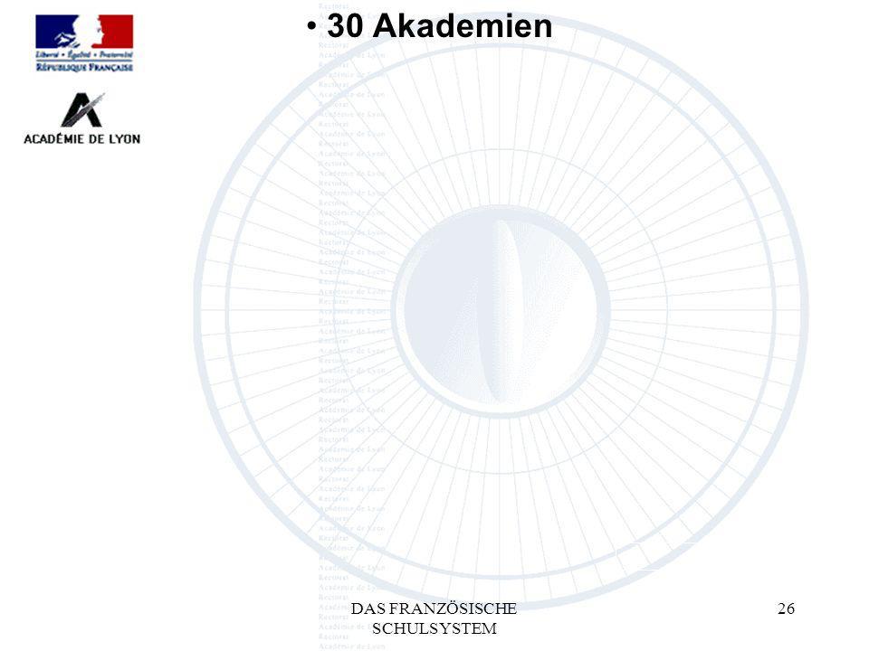 DAS FRANZÖSISCHE SCHULSYSTEM 26 30 Akademien