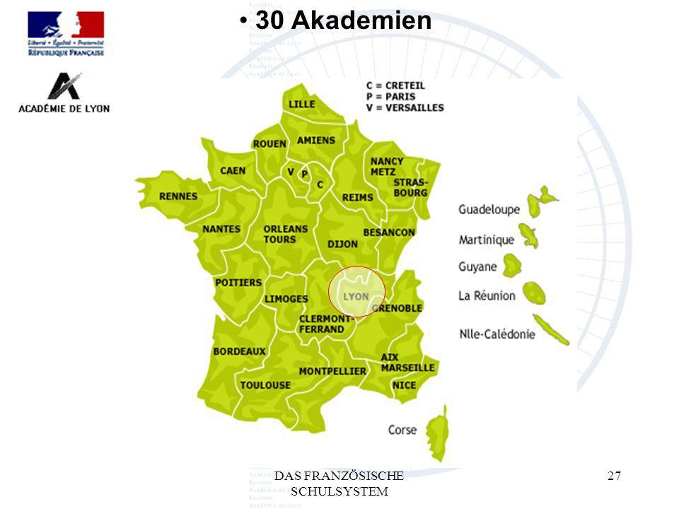 DAS FRANZÖSISCHE SCHULSYSTEM 27 30 Akademien