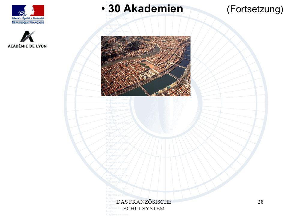 DAS FRANZÖSISCHE SCHULSYSTEM 28 30 Akademien (Fortsetzung)