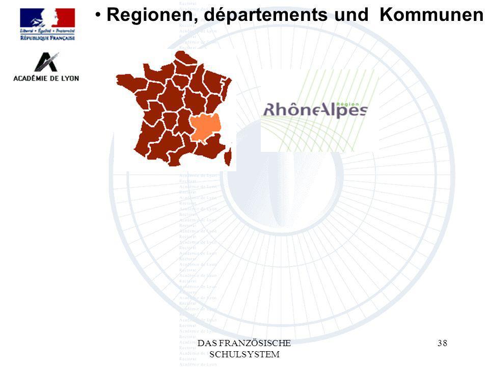 DAS FRANZÖSISCHE SCHULSYSTEM 38 Regionen, départements und Kommunen