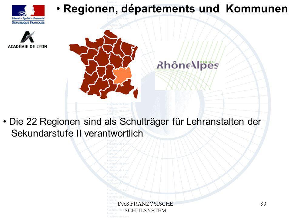 DAS FRANZÖSISCHE SCHULSYSTEM 39 Regionen, départements und Kommunen Die 22 Regionen sind als Schulträger für Lehranstalten der mSekundarstufe II verantwortlich