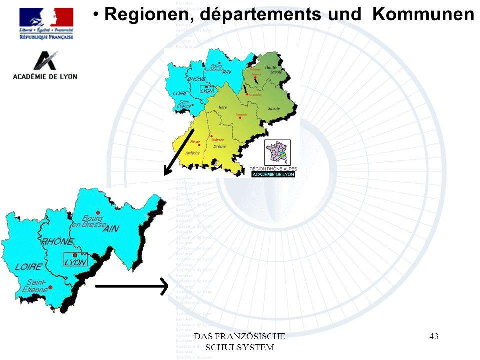 DAS FRANZÖSISCHE SCHULSYSTEM 43 Regionen, départements und Kommunen