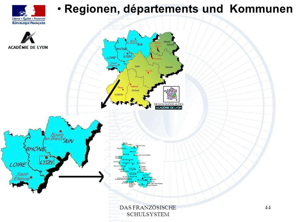 DAS FRANZÖSISCHE SCHULSYSTEM 44 Regionen, départements und Kommunen