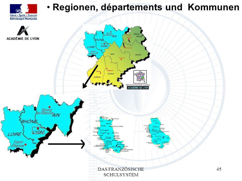 DAS FRANZÖSISCHE SCHULSYSTEM 45 Regionen, départements und Kommunen