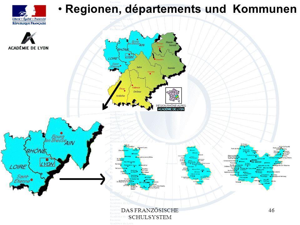 DAS FRANZÖSISCHE SCHULSYSTEM 46 Regionen, départements und Kommunen