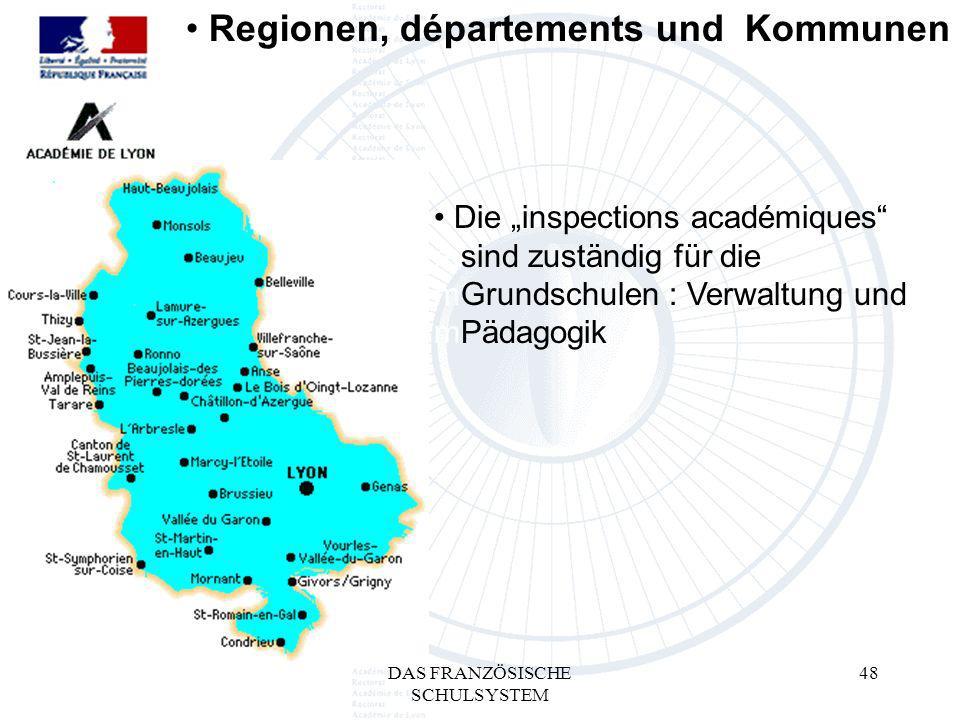 DAS FRANZÖSISCHE SCHULSYSTEM 48 Die inspections académiques msind zuständig für die mGrundschulen : Verwaltung und mPädagogik Regionen, départements und Kommunen