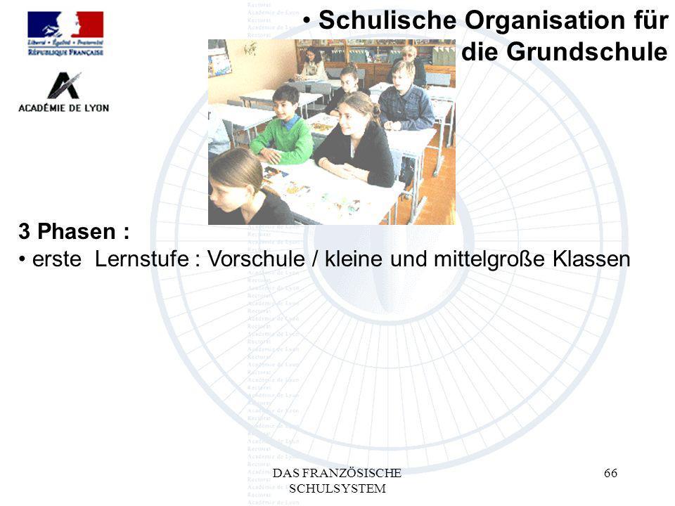 DAS FRANZÖSISCHE SCHULSYSTEM 66 3 Phasen : erste Lernstufe : Vorschule / kleine und mittelgroße Klassen Schulische Organisation für die Grundschule