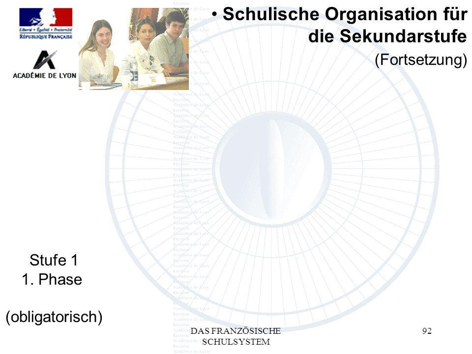 DAS FRANZÖSISCHE SCHULSYSTEM 92 (Fortsetzung) Schulische Organisation für die Sekundarstufe Stufe 1 1.