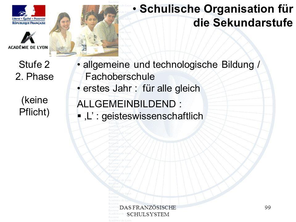 DAS FRANZÖSISCHE SCHULSYSTEM 99 ALLGEMEINBILDEND : L : geisteswissenschaftlich Schulische Organisation für die Sekundarstufe Stufe 2 2.