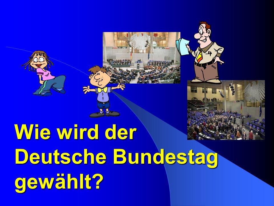 Deutscher Bundestag Wähler Parteien Kandidaten- listen Wählen eine Partei.