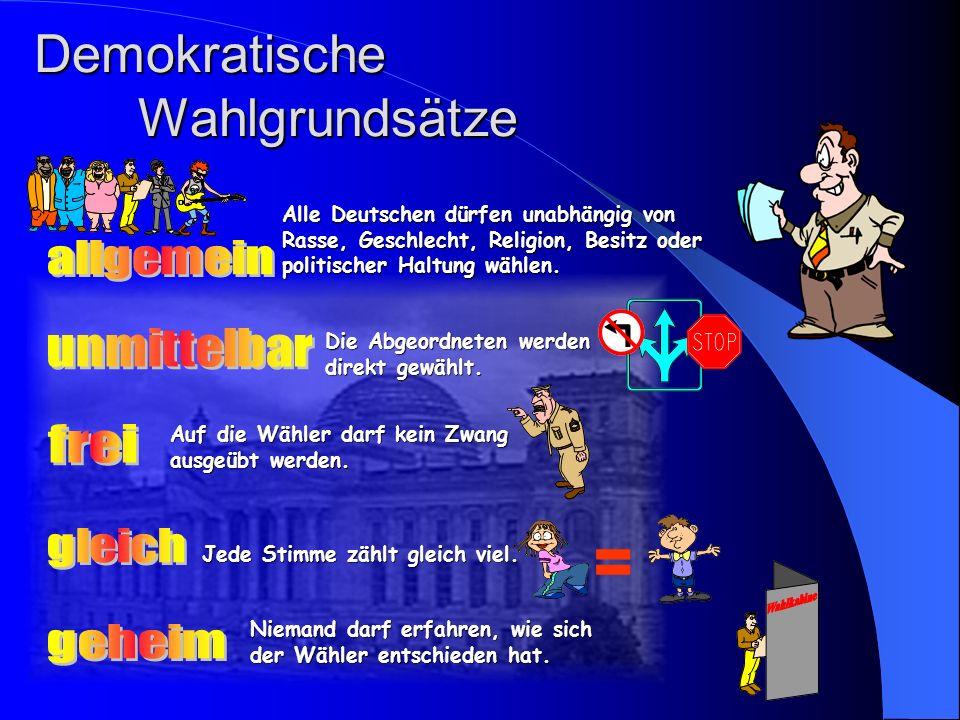 Demokratische Wahlgrundsätze Alle Deutschen dürfen unabhängig von Rasse, Geschlecht, Religion, Besitz oder politischer Haltung wählen.