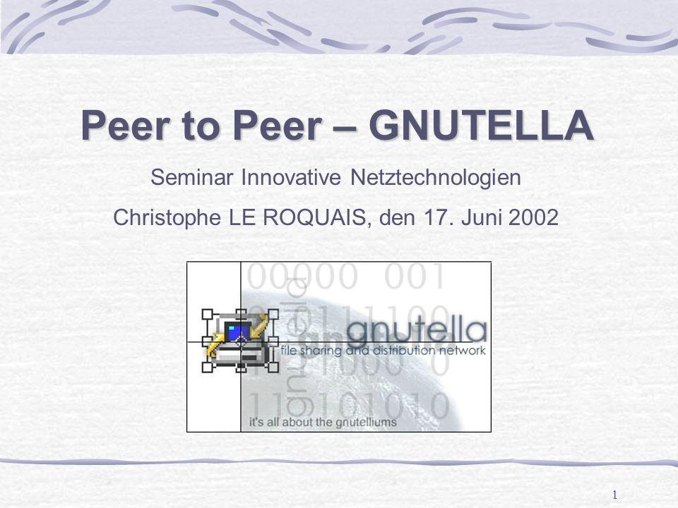 2 20 Slides : P2P, Grundkenntnisse - Client/Server - P2P Topologien Gnutella - Funktionsweise - Nachrichten - Beispiel Inhaltverzeichnis