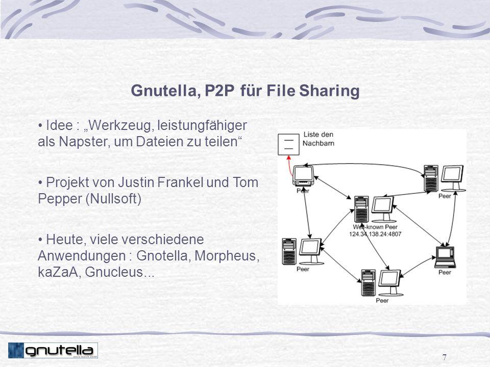 7 Gnutella, P2P für File Sharing Idee : Werkzeug, leistungfähiger als Napster, um Dateien zu teilen Projekt von Justin Frankel und Tom Pepper (Nullsoft) Heute, viele verschiedene Anwendungen : Gnotella, Morpheus, kaZaA, Gnucleus...