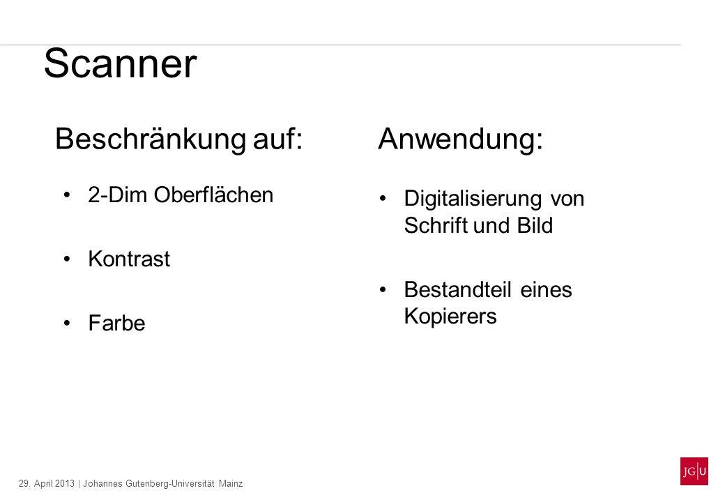 29. April 2013 | Johannes Gutenberg-Universität Mainz Scanner 2-Dim Oberflächen Kontrast Farbe Beschränkung auf:Anwendung: Digitalisierung von Schrift